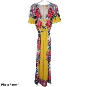 Flying Tomato Yellow Floral Wide Leg Jumpsuit Sm